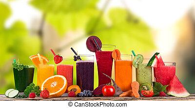egészséges, friss, drinks., gyümölcslé