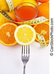 egészséges, friss gyümölcs, diéta