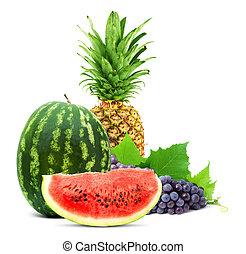 egészséges, friss gyümölcs, színes