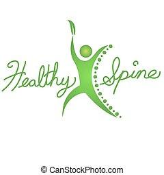 egészséges, gerinc, ikon