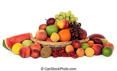 egészséges, gyümölcs, gyűjtés