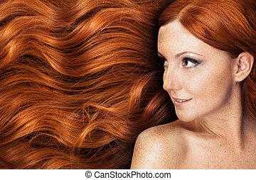 egészséges, haj, hosszú