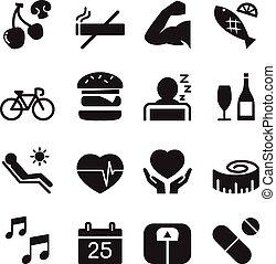 egészséges, ikonok, állhatatos, 2, vektor, ábra