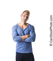 egészséges, jelentékeny, fiatal, hím, formál, feltevő, magabiztos