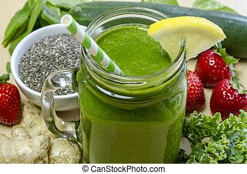 egészséges, juice részeg, zöld, smoothie