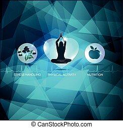 egészséges, kék, elvont, életmód, háttér
