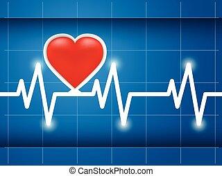egészséges, kardiogram, szív