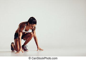 egészséges, kisasszony, előkészítő, helyett, egy, futás