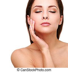 egészséges, kitakarít, teljes, woman arc, és, kéz, skin.,...