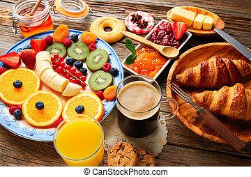 egészséges, kontinentális reggeli, kávécserje, büfé