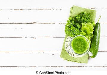 egészséges, lé, zöld, smoothie