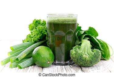 egészséges, lé, zöld