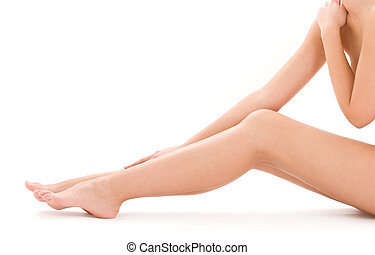 egészséges, meztelen woman