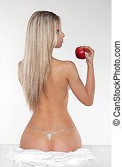 egészséges, meztelen woman, noha, piros alma, felett, fehér