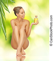 egészséges, meztelen woman, palack, olaj