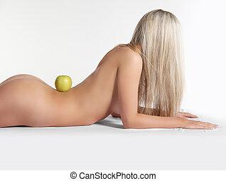 egészséges, meztelen woman, test, noha, friss, alma, felett, fehér