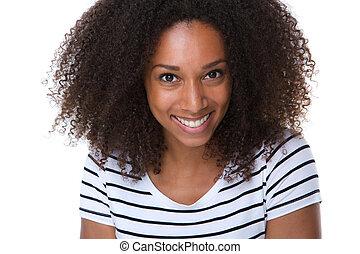 egészséges, mosolyog woman, fiatal
