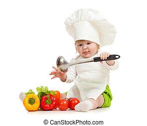 egészséges, növényi, séf, élelmiszer, kalap, kölyök