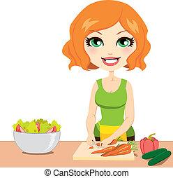egészséges, növényi, saláta