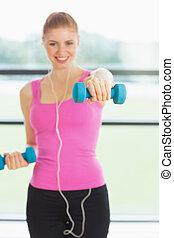 egészséges, nő, gyakorlás, noha, félcédulások, alatt, állóképesség, műterem