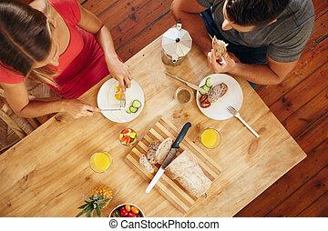 egészséges, párosít, reggel, reggeli, élvez, konyha