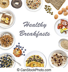 egészséges, reggeli, kollázs