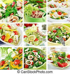 egészséges, saláták, kollázs