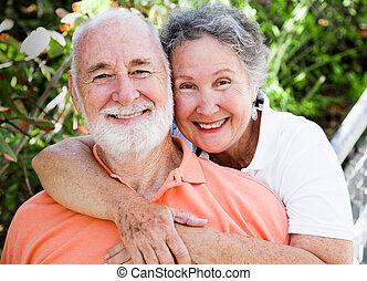 egészséges, senior összekapcsol, boldog