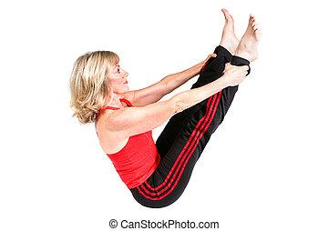 egészséges, senior woman, cselekszik, pilates