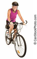 egészséges, senior woman, elnyomott bicikli