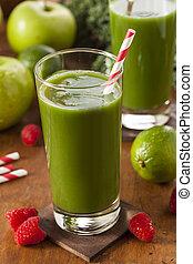 egészséges, smoothi, lé, gyümölcs, zöld növényi