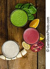 egészséges, smoothie, -, eszik, kitakarít