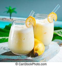 egészséges, smoothie, telt, banán