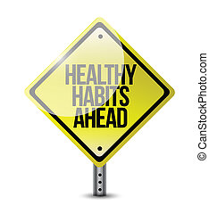 egészséges, szokások, út cégtábla, ábra, tervezés