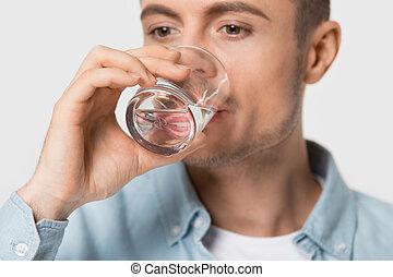 egészséges, szomjas, pasas, ivás, fiatal, elzáródik, water.