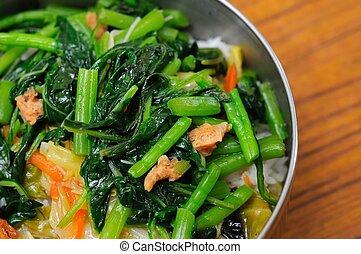 egészséges, tál, vegetáriánus