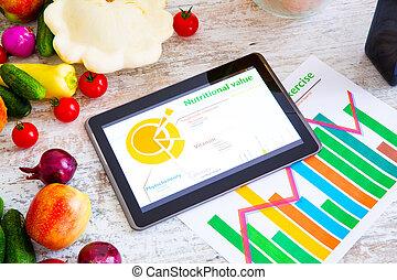 egészséges, táplálás, tanácsadás, szoftver