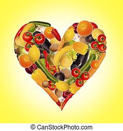 egészséges, táplálás, van, alapvető