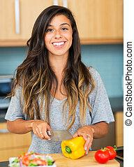 egészséges táplálék, cooking., nő, fiatal