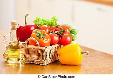 egészséges táplálék, friss növényi, alatt, kosár, és, palack, noha, olaj, képben látható, a, konyhaasztal