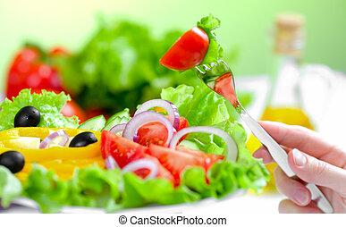 egészséges táplálék, friss növényi, saláta, és, villa