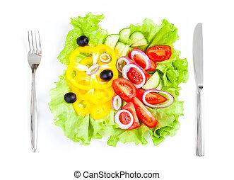 egészséges táplálék, friss növényi, saláta, kés és villa