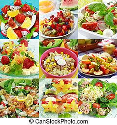 egészséges táplálék, kollázs
