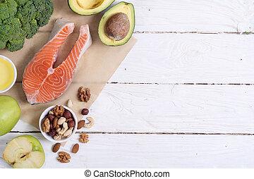 egészséges táplálék, növényi, diók, és, lazac