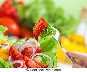egészséges táplálék, vagy, friss növényi, saláta, étkezés, fogalom