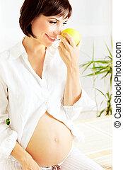 egészséges, terhes, hölgy