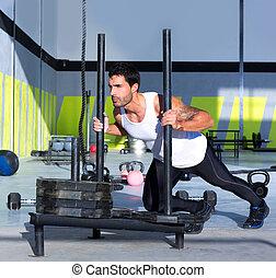 egészséges, tréning, rámenős, kereszt, szánkó, mér, tol, ember