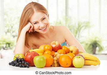 egészséges, vegetáriánus táplálék, gyümölcs, leány, boldog
