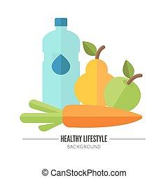 egészséges, wellness, lifestyle., fogalom, vektor
