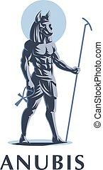 egípcio, anubis., vetorial, emblem., deus